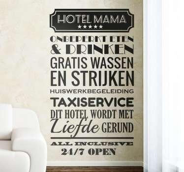 Hotel Mama Nederlands muursticker