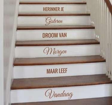 Nederlandse tekst herinner droom leef trap sticker