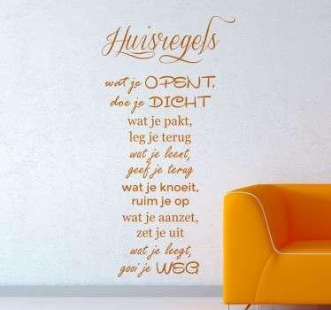 Elk huis kent zijn regels maar hoe leuk is het als je deze huisregels op de muur hebt op een leuke en vrolijke manier!