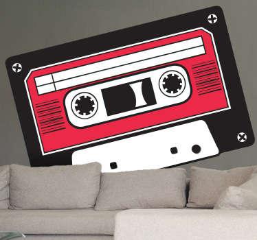 Pegatina cinta cassette roja y negra