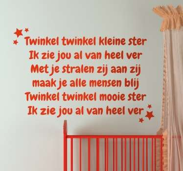Twinkel Twinkel ster kinderlied tekst sticker