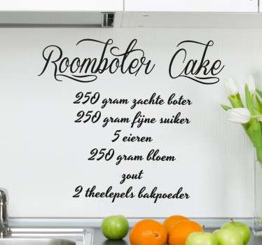 Recept roomboter cake sticker