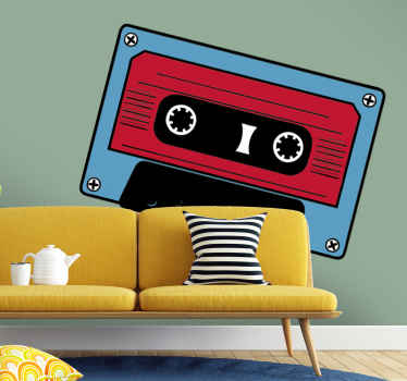 Pegatina cinta cassette roja y azul