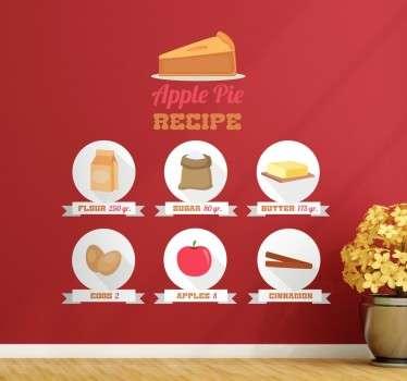 Sticker mural recette tarte aux pommes