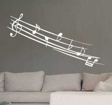 Muursticker Muzieknoten met Klanken