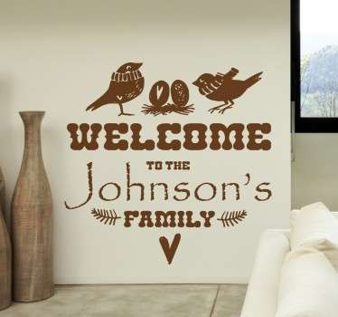 Customisable Welcome to the Family Wall Sticker