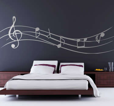 A decorative decal of musical notes to decorate any smooth surface. A fascinating sticker that is customisable in colour!