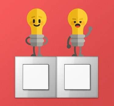 Lichtschalter Sticker bunte Glühbirne