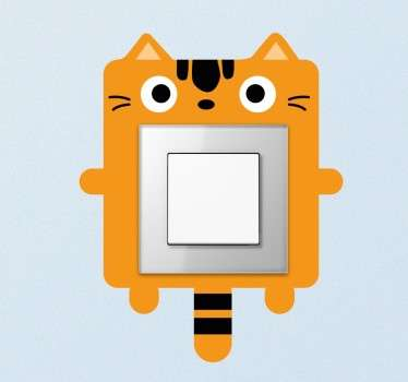 Light switch sticker designed to give a touch of joy and colour to your children's room. Switch stickers with a drawing of a funny orange cat. Cat light switch sticker to give an original look to the light switches and plug sockets in their rooms.