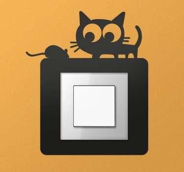 Naklejka na włącznik światła kot i mysz