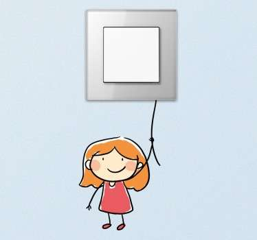 Fun light switch sticker that is perfect to improve the decor in your daughter's room with just a single element. Stickers for children with a funny drawing of a girl holding a rope, the switch represents a balloon.