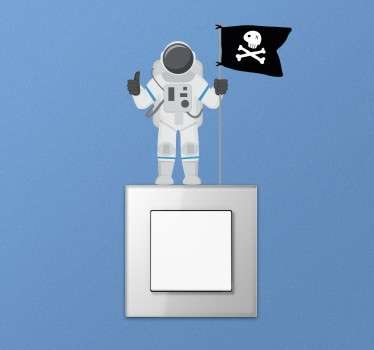 Sticker interrupteur astronaute pirate