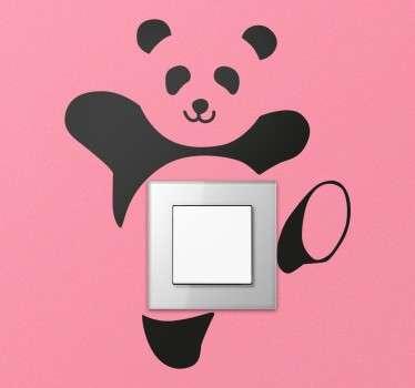 Naklejka na włącznik światła tańcząca panda