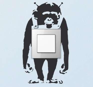 Sticker interrupteur singe Banksy