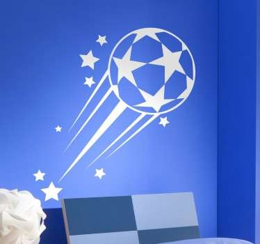Kids football wall stickers - A kids bedroom wall sticker for young ones who football is there favourite sport. Features a football flying through the air with stars.