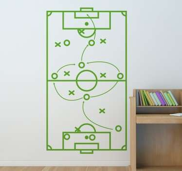 Sports wall sticker with a football pitch represented by the field lines and a schematic version of the players of the two teams with crosses and circles. Arrows mark the tactics that the coach wants his team to perform. Available in a variety of sizes and colours.