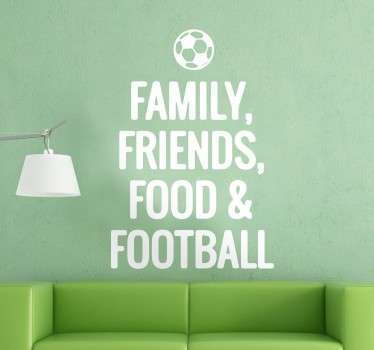 A great text wall sticker illustrating the main important elements in a football player's life. Discounts available. High quality.