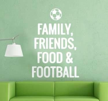 Muursticker Tekst Familie Vrienden Voetbal