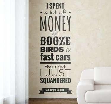 Vinil decorativo citação George Best