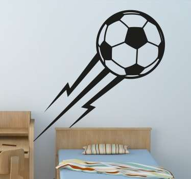 A sports sticker with a mono-colour drawing of a football flying through the air, leaving a trail of lightening behind.