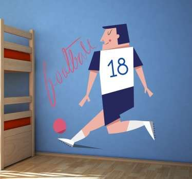 A great children's wall sticker illustrating a football player ready for the match! Decorate your children's room with this unique design.o.