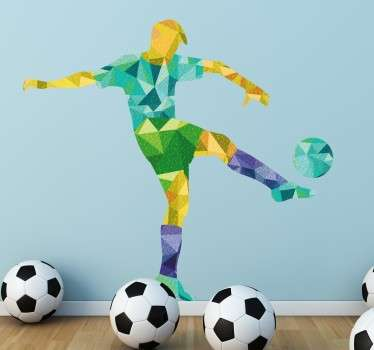 A creative sports wall sticker of a footballer in action, with a colourful geometric design. A wall decal for all football fans, perfect to place in your children's bedroom to add some colour to their walls and show off their love of the great sport.