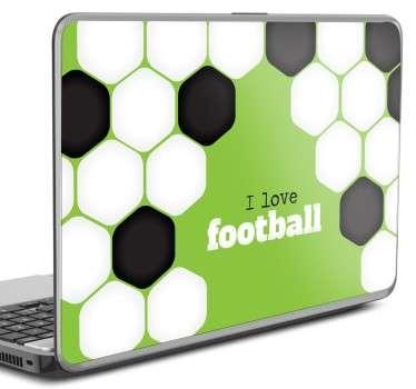 Naklejka na laptopa kocham piłkę nożną