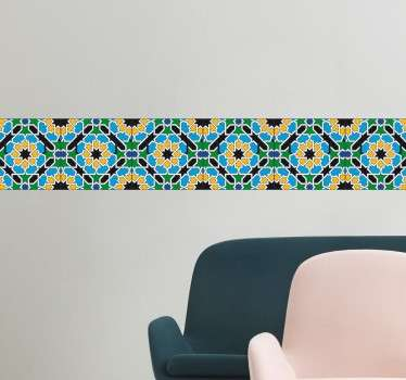 A beautiful border wall sticker that resembles a patterned tile with decorative sunflowers. Create a border effect in any room in an easy and stylish way with this wall sticker. Transform your bathroom or kitchen for spring with this lovely floral design.