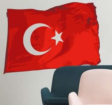 Muursticker van de Turkse vlag zo gemaakt dat het lijkt alsof deze vlag wappert. Ben jij gek op Turkije ? Dan wil je deze vlag zeker hebben!
