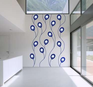 A decorative wall sticker representing interconnected Nazar Amulets. A nazar is an eye shaped amulet or symbol