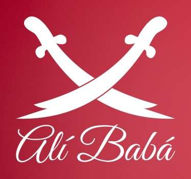 """Deze sticker toont twee gekruiste zwaarden met daaronder de tekst """"Ali Baba"""" gebasseerd op de beroemde film """"The Arabian Nights"""". Ervaren ontwerpteam."""