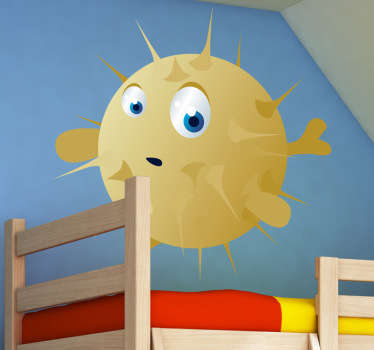 Kid Wall Stickers-Fun and playful illustration of a blowfish with big eyes. Ideal for the kids´bedrooms and play areas.