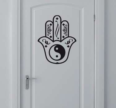 Vinilo decorativo mano de fatima con yin yang