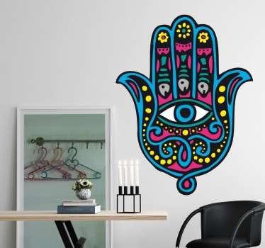 Adesivo de parede símbolo Hamsá colorido
