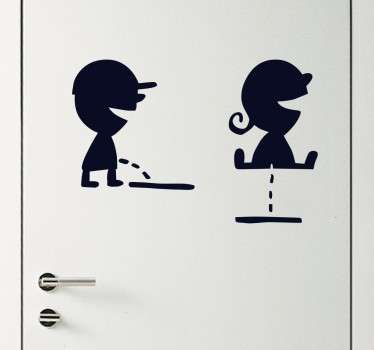 Funny toilet door sticker of a boy and girl using the bathroom. Ideal for decorating the toilet doors of your business. Indicate to your customers which door they should use in an unique and creative way.
