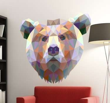 Geometric bear wall sticker showing a modern wild animal design made of polygonal shapes and colours. Decorate the walls of your home with this impressive design of a bear's head. Available in various sizes, choose the size that best suits you.