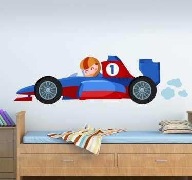 Fun and unique kids wall sticker of a little Formula 1 driver in a super fast red and blue race car. This cartoon F1 wall sticker is perfect for adding some colour and style to any child's bedroom.
