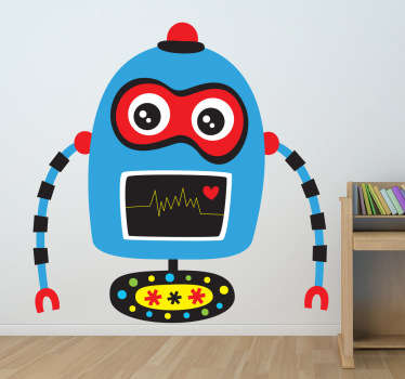 A fun and original blue robot wall sticker with a beating heart. This friendly robot design is from our collection of kids wall stickers and is perfect for their bedroom! This blue robot decal is super easy to apply and leaves no residue upon removal. Available in different sizes.