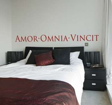 "Decorative bedroom wall sticker with a romantic Latin text; ""Amor Vincit Omnia"", which translates to ""Love conquers all"". Decorate the walls of your bedroom or your living room with a declaration of love that will create a cultural and romantic feel."
