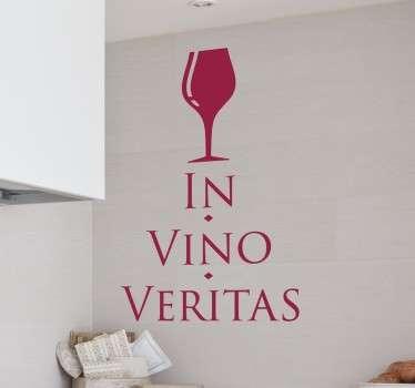 Autocolante com o texto em latim in vino veritas