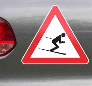 Pas op skiërs bord sticker