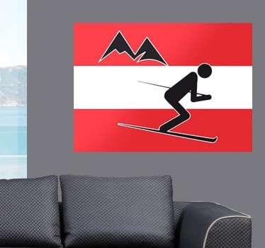 Wunderbares Wandtattoo von der österreichischen Fahne mit zwei Bergen und einem Skifahrer.