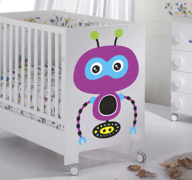 A decorative decal of a purple robot from our collection of robot wall stickers for children. A creative design that your child will love.