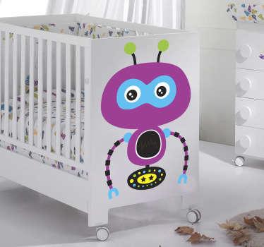 Wallstickers børneværelset lilla robot
