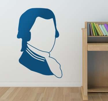 A silhouette wall sticker of the famous Austrian classical musician and composer; Mozart.