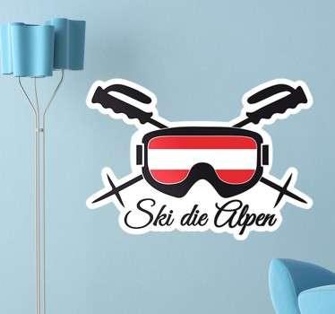 Wandtattoo Ski die Alpen