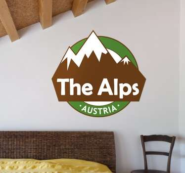 Decorative wall sticker of the alps. This design can be placed on wall, doors, motorcycles, personal accessories etc. It is easy to apply .