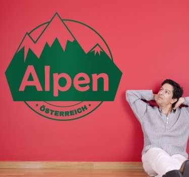 Dekoratives Wandtattoo welches Berge mit dem Text Alpen - Österreich abbildet.
