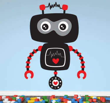 A playful and fun illustration of a black robot ready to wonder around and embark on adventures. A design from our collection of robot wall stickers. A creative decal that is ideal for decorating kids bedrooms and nurseries.