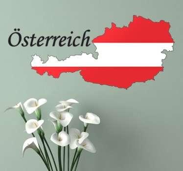 Dekoratives Wandtattoo von der Silouhette von Österreich mit den Nationalfarben, rot-weiß-rot.
